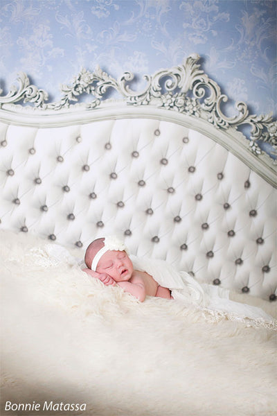 Baroque Headboard Blue Printed Photography Backdrop
