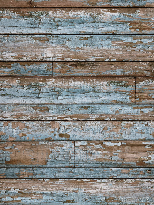 Blue Grunge Wood Printed Photography Backdrop