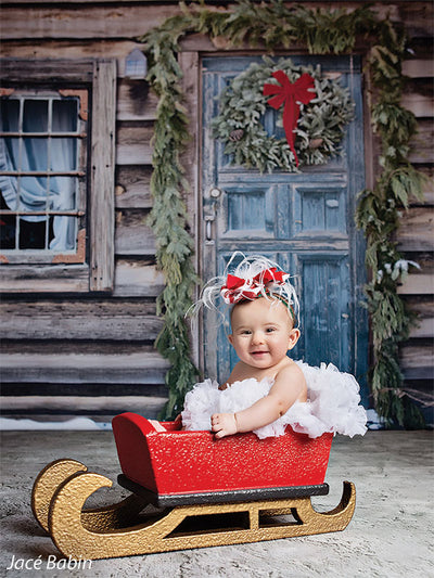 Christmas Cabin Door Printed Photography Backdrop