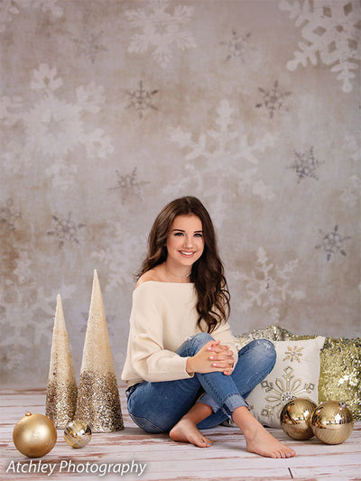 Vintage Snowflake Printed Photography Backdrop
