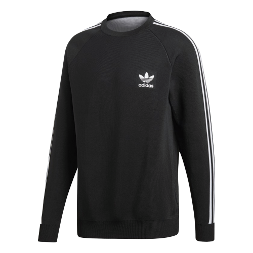 Adidas Originals 3 Stripes Knit Crew Black White Men Lifestyle Trefoil