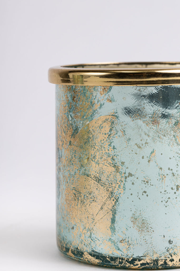 Aqua Foiled Cylinder Scented Candle