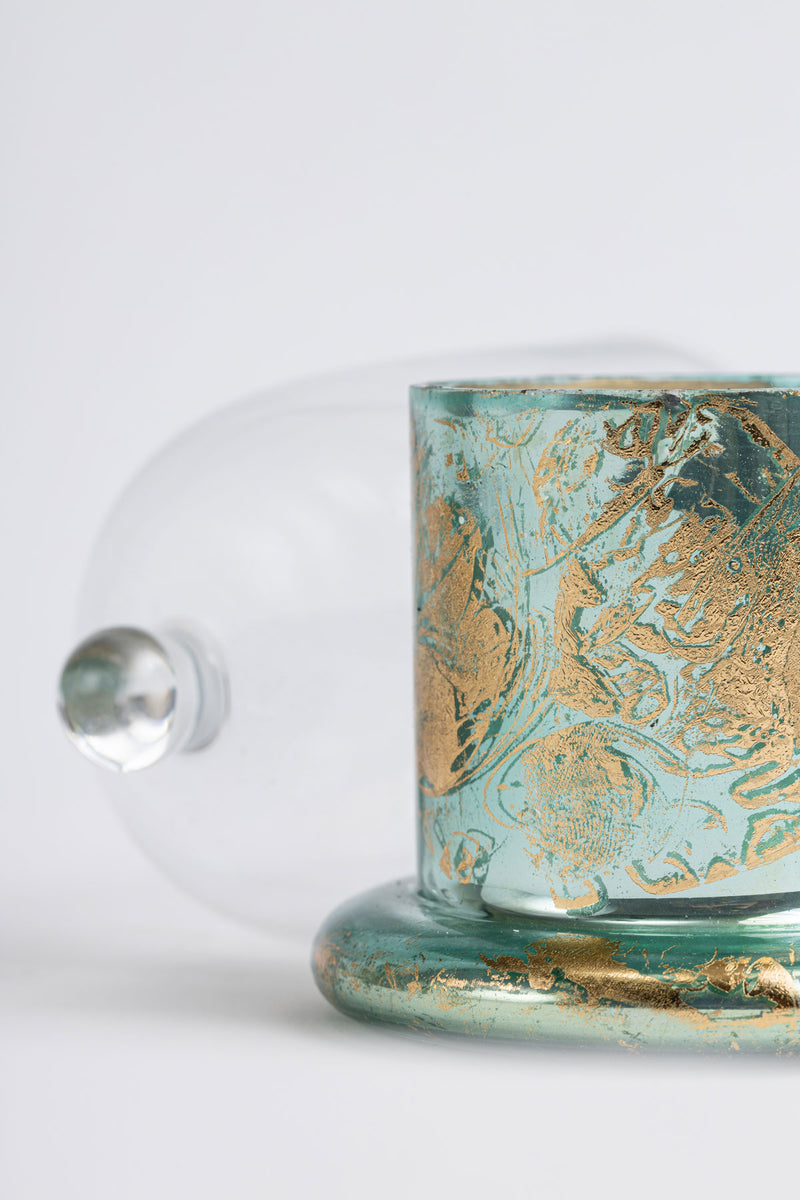 Aqua Foiled Bell Jar |  Scented Candle