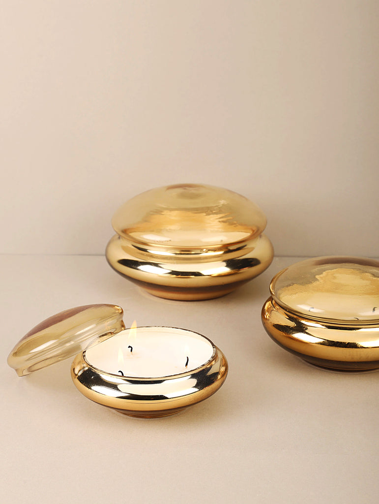 Macaron Lid Jar | Gold | Scented Candle
