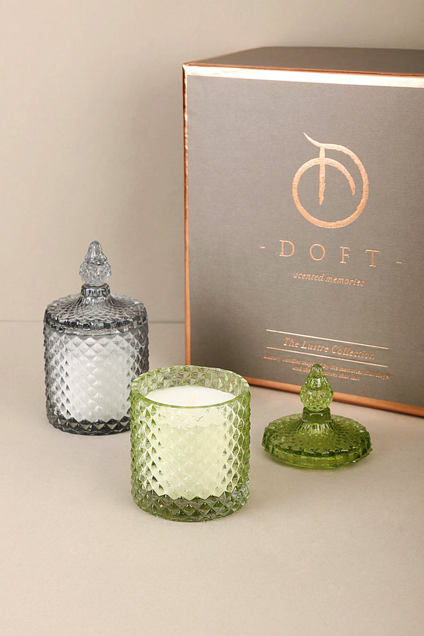 Diamond Jars (Set of 2) - Green & Smoke - Scented Candles