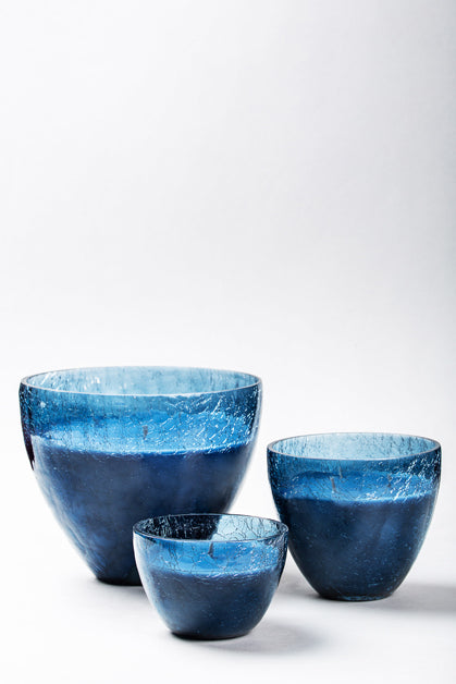 Crackled Bell Vase | Blue | scented candle