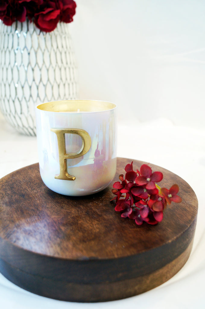 Initial P scented candle