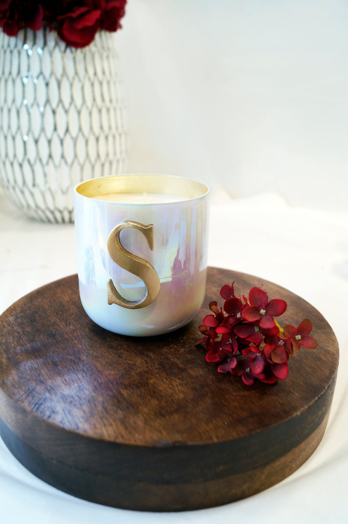 Initial S scented candle