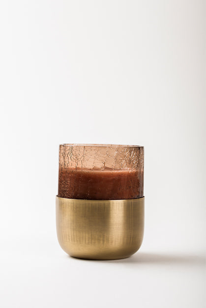 Crackled U Glass | Brown | scented candle