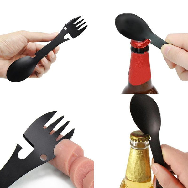 Stainless Steel Spoon Fork Knife with Bottle Opener -  5 in 1 Tool.