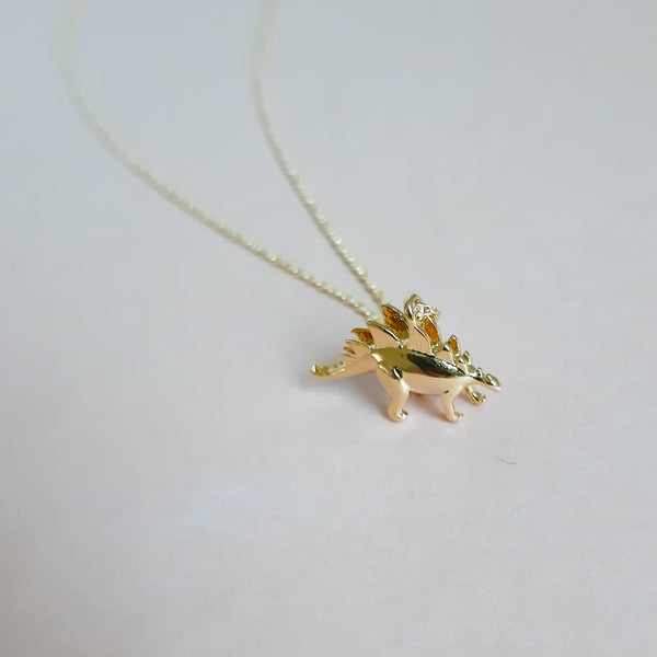 Gold Stegosaurus Necklace