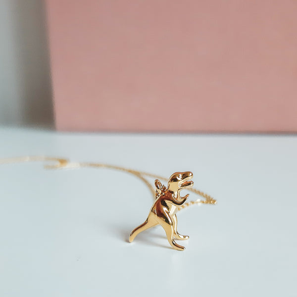 Gold T-Rex Dinosaur Necklace