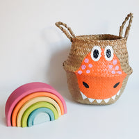 Orange Dinosaur Storage Basket