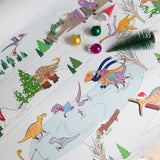 Dinosaur Christmas Scene Wrapping Paper