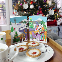 Dinosaurs Carol Singing Xmas Card
