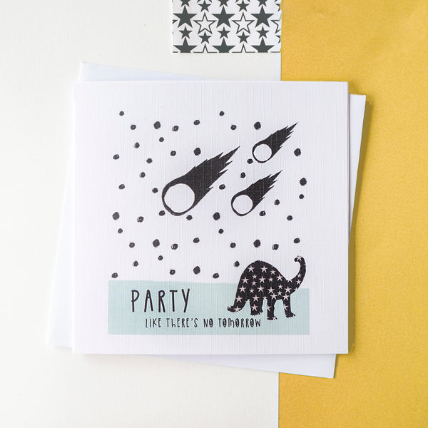 Dinosaur Party Card - Blank inside.