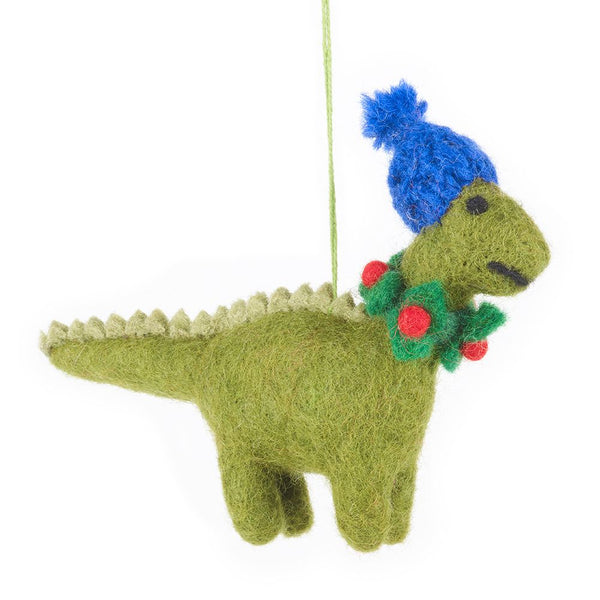 Felt dinosaur with Cost Blue Hat hanging decoration