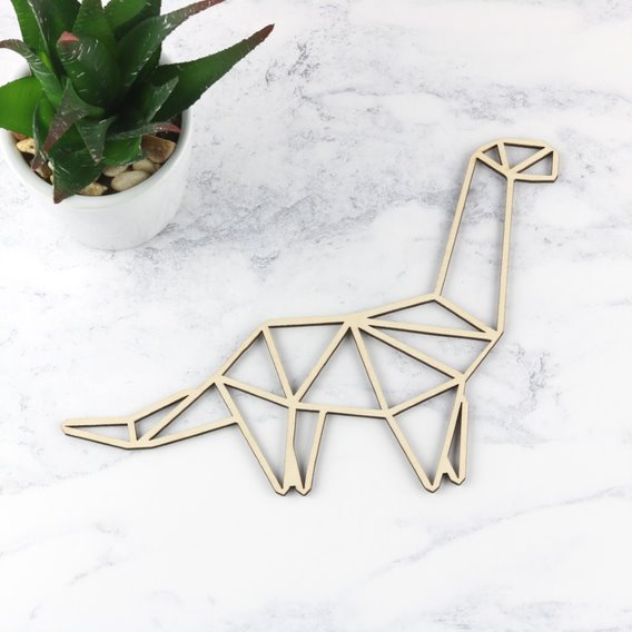 Wooden Geometric Dinosaur Decoration - Brontosaurus