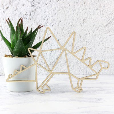 Wooden Geometric Dinosaur Decoration - Stegosaurus
