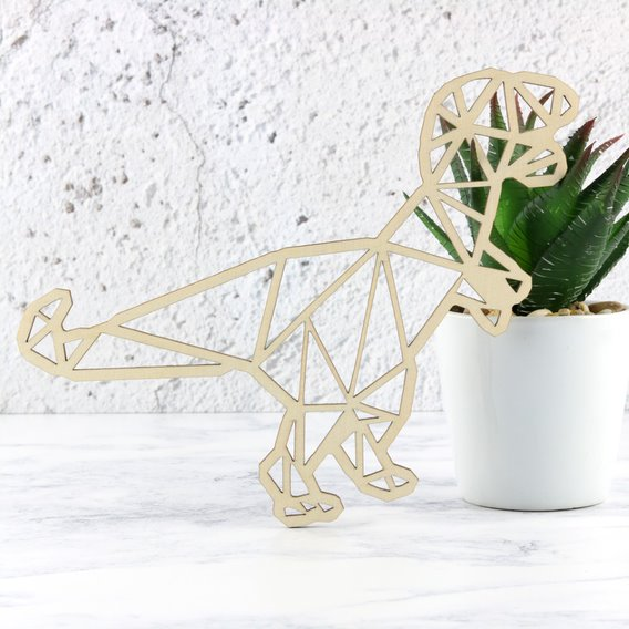 Wooden Geometric Dinosaur Decoration - T-Rex