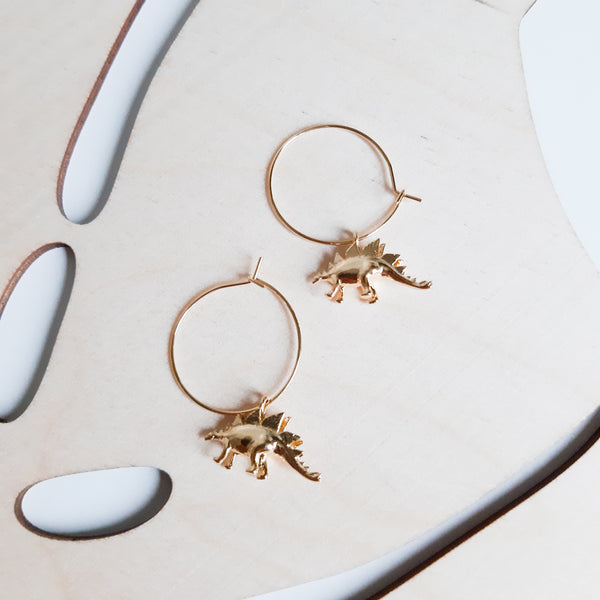 Gold Stegosaurus Hoop Earrings
