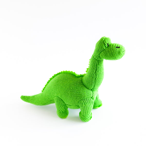 Knitted Small Diplodocus Dinosaur Rattle Green