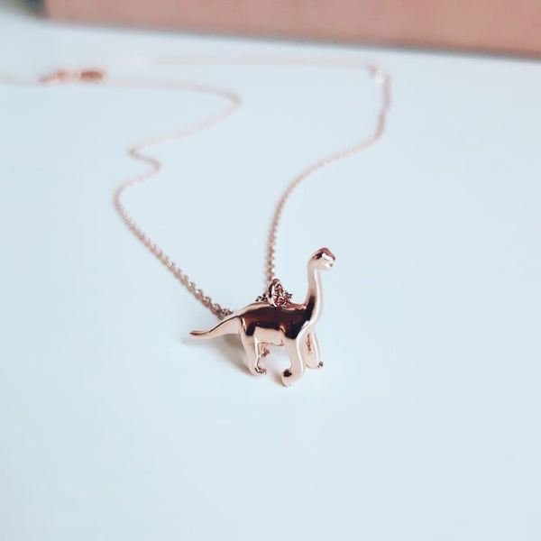 Rose Gold Diplodocus Necklace