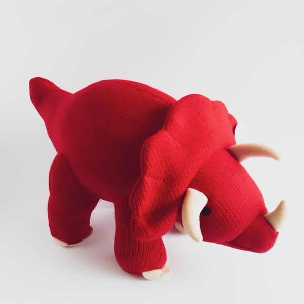 Knitted Large Triceratops Dinosaur Soft Toy Red