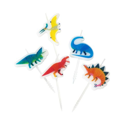 Little Party Dino Birthday Candles 5 Pack