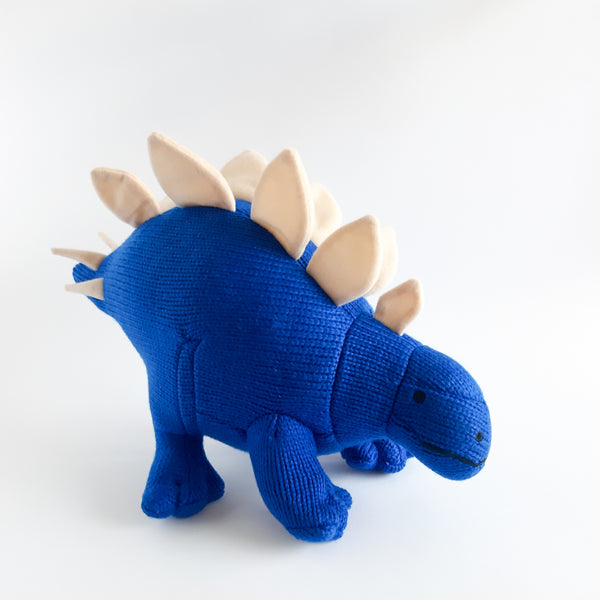 Medium Knitted Stegosaurus Dinosaur Toy Blue