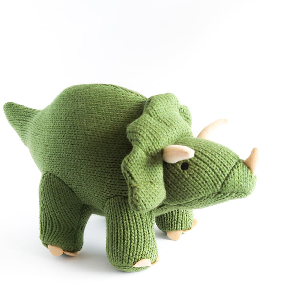 Medium Knitted Triceratops Dinosaur Toy Moss Green