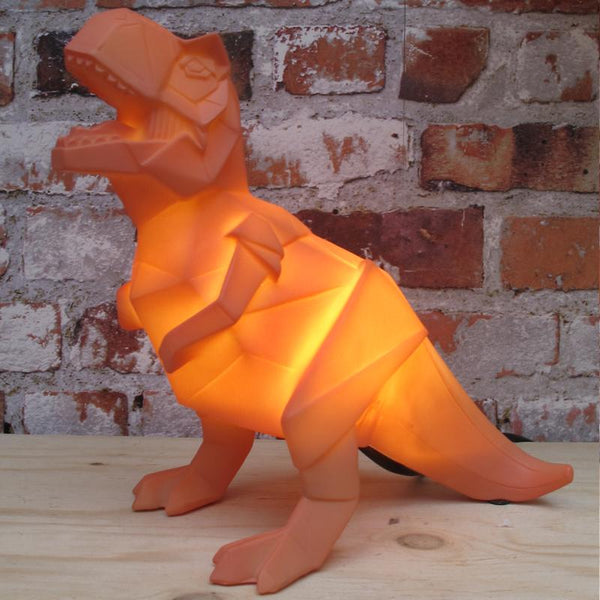 Orange Origami T-Rex Dinosaur Lamp (UK Plug)