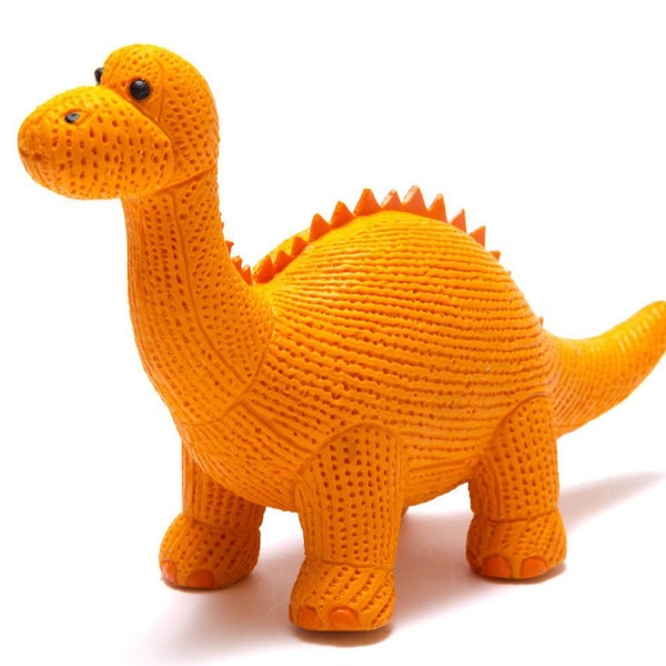 My First Diplodocus - Natural Rubber Dinosaur Toy Orange