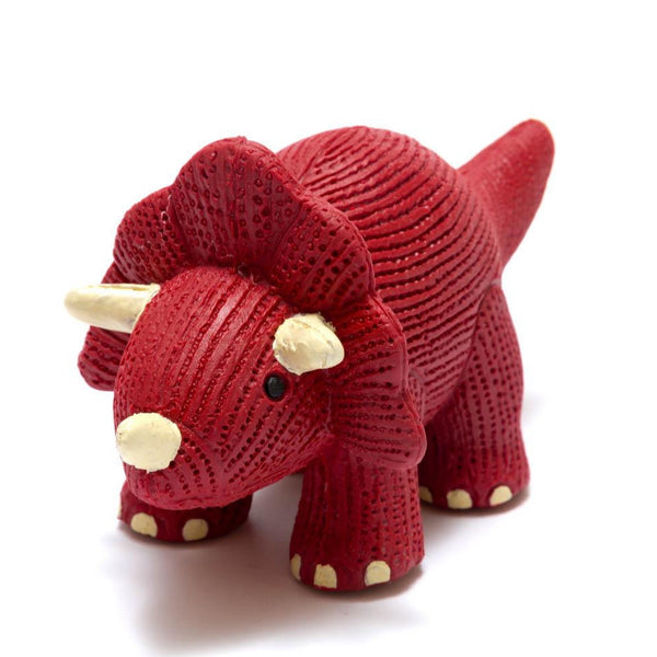 My First Triceratops - Natural Rubber Dinosaur Toy Red