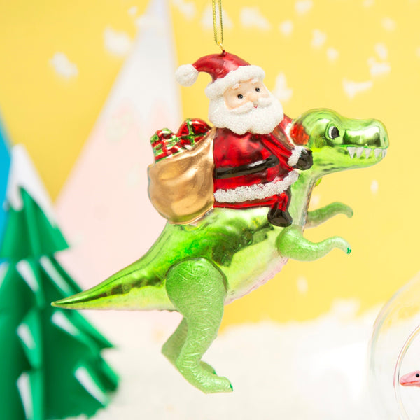 Santa on a Dinosaur Xmas Decoration