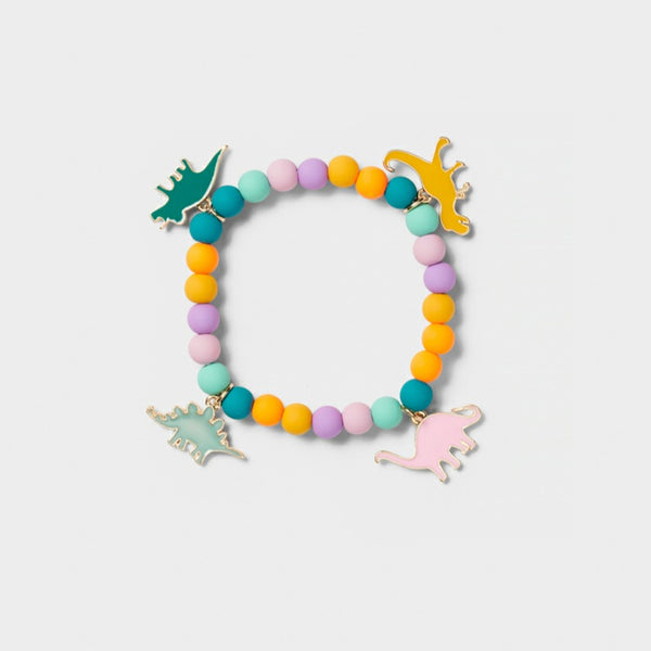 Girls She-Rex Dinosaur Beaded Pendant Bracelet