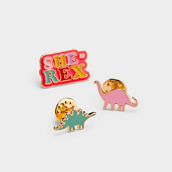 She Rex Dinosaur Pin Badges (set of 3)
