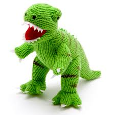 Knitted Small T Rex Dinosaur Rattle Green