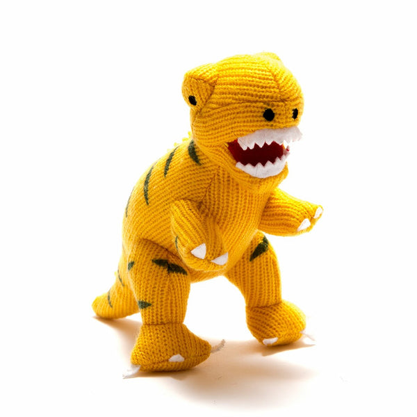 Knitted Small T-Rex Dinosaur Rattle Yellow