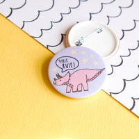 Girls Rule Dinosaur Button Badge