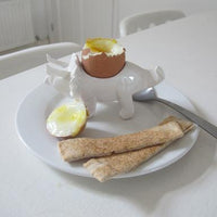 Dinosaur White Egg Cup - Triceratops