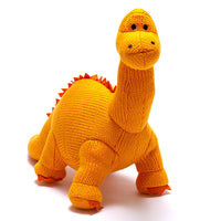 Knitted Large Diplodocus Dinosaur Soft Toy Orange