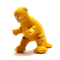 Medium Knitted T-Rex Dinosaur Toy Yellow