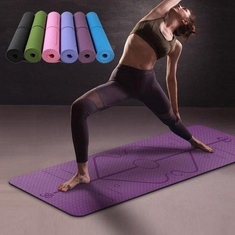 Image of Warrior Grip Yoga Mat: With Asana Align Body Alignment System - Purple - Beeline-Xpress