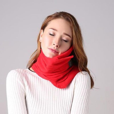 Image of Dream Scarf Travel Pillow: Scientifically Proven Neck Support Pillow - Red - Beeline-Xpress