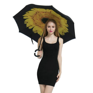Double-Sided Foldable Umbrella : C-Shaped Handle To Get Your Hands Free - Beeline-Xpress