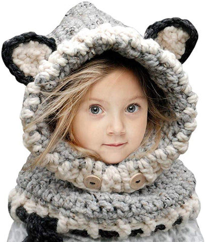 Fashionable Fox Beanie for Kids: Perfect Gift to Keep Kids Warm on Christmas - Gray - Beeline-Xpress