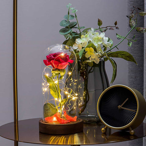 Image of Dome Decor: Enchanted Handmade Rose Flower Lamp