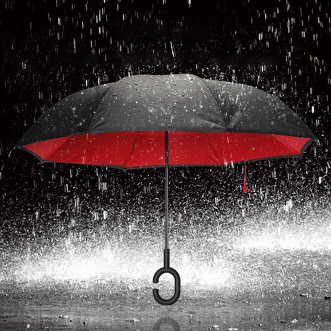 Image of Double-Sided Foldable Umbrella : C-Shaped Handle To Get Your Hands Free - Red - Beeline-Xpress