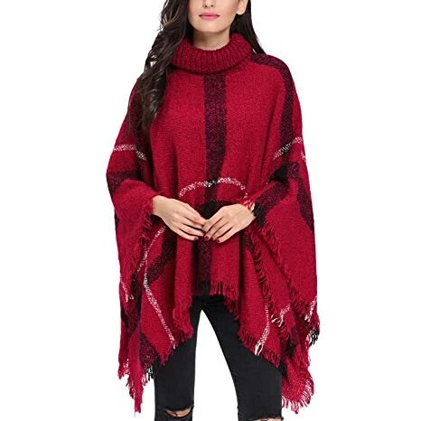 Image of Check Shawl Sweater: Perfect for Wearing in the Winter